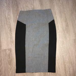 Express Gray Midi Pencil Skirt